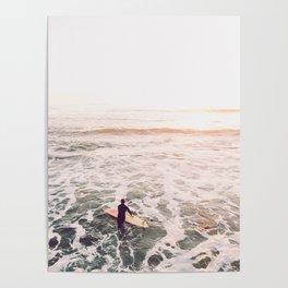 surf summer sunset Poster