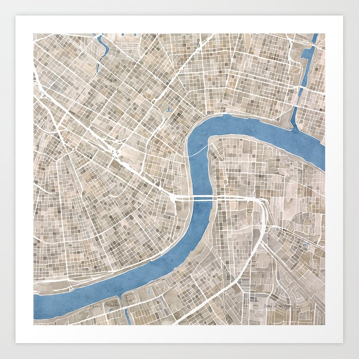 image relating to Printable Map of New Orleans identify Contemporary Orleans Cobblestone Watercolor Map Artwork Print by means of aemcdraw