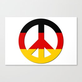 Black Red Yellow German Flag CND Peace Symbol Canvas Print