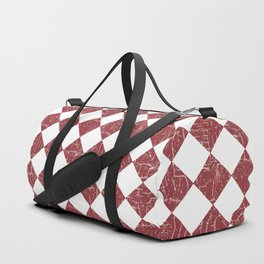 Rustic Farmhouse Checkers in Brick Red and White Duffle Bag