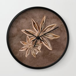 Star Anise Spice Wall Clock