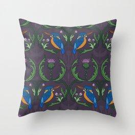 Kingfisher & Thistles (purple) Throw Pillow
