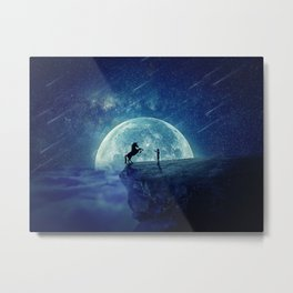 How to tame a unicorn? (night scene) Metal Print