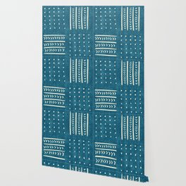 Mud Cloth Patchwork in Teal Wallpaper