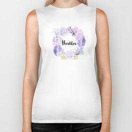 Hustler Purple Flowers Biker Tank