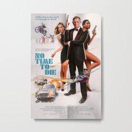 No Time To Die Retro Painted James Bon-d 00-7 Movie Poster Art Print Metal Print