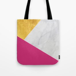 Carrara marble with gold and Pantone Pink Yarrow color Tote Bag