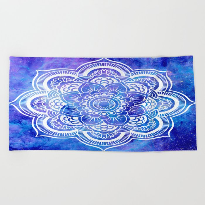 Mandala Blue Lavender Galaxy Beach Towel