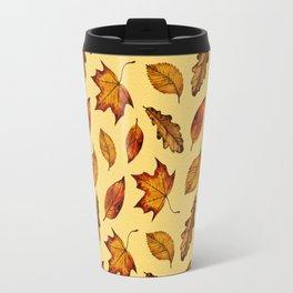 Painted Autumn Leaves Falling Pattern Travel Mug