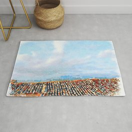 Roof and cloudy sky Rug