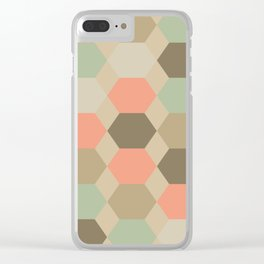 Hexagonal Turquoise Pattern Clear iPhone Case