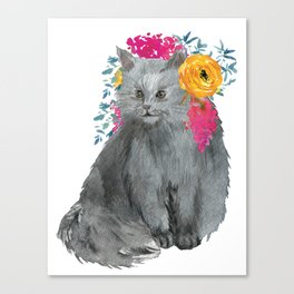 cat with flower crown Canvas Print