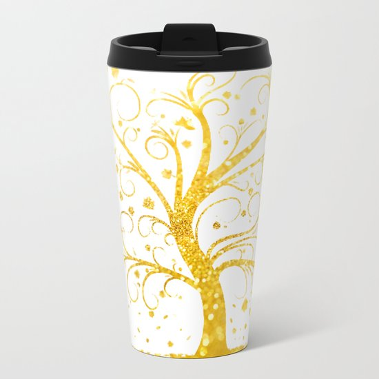 Gold Tree Metal Travel Mug