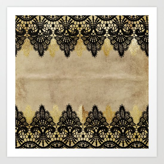 Elegance- Ornament black and gold lace on grunge paper backround Art Print