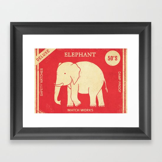 Elephant Safety Matches Framed Art Print