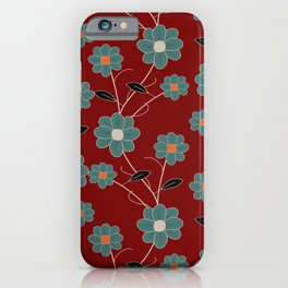 Wild Flowers On Red Spring Summer Floral Pattern iPhone Case