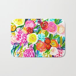 Bright Colorful Floral painting Bath Mat