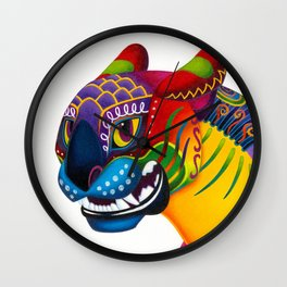 Oaxacan Big Cat Mini-Bust Wall Clock