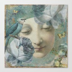 Blue Bird Moon Face Canvas Print