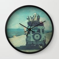 never stop exploring Wall Clocks featuring NEVER STOP EXPLORING II by Monika Strigel