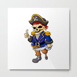 pirate skeleton cartoon. Metal Print