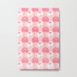 Peony Garden Peach Dots Metal Print
