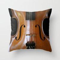 violin Throw Pillows featuring Violin by Päivi Vikström