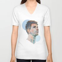 messi V-neck T-shirts featuring Lionel Messi by Megan Diño