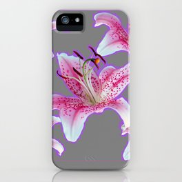PURPLE & PINK ASIAN LILIES GREY ART PATTERNS iPhone Case