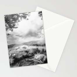 acrylic misty forest painting 2 acrbw Stationery Cards