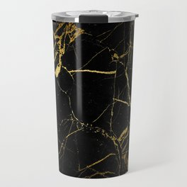 Black-Gold Marble Impress Travel Mug