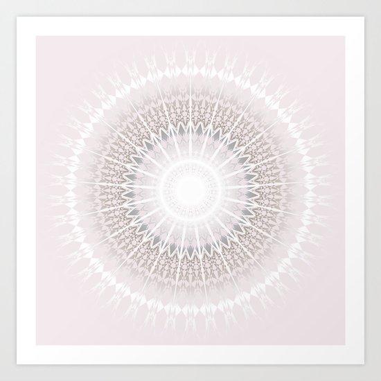 Pastel Gray Mandala Art Print