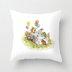Birthday Party Picnic Throw Pillow