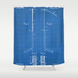 Ice Hockey Stick Patent - Ice Hockey Art - Blueprint Shower Curtain