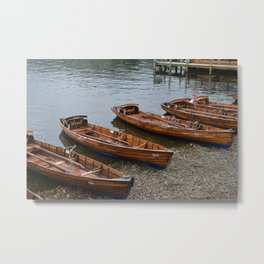 Wooden Boats on Shore, Lake Windermere Metal Print