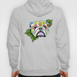 English Bulldog - Day of the Dead Sugar Skull Dog Hoody
