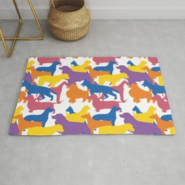 Dogs Pattern 2. Dog Lover. Colourful Dogs. Lots of Dogs Rug