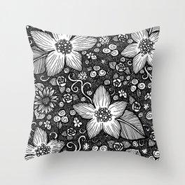 Flower Doodle Throw Pillow