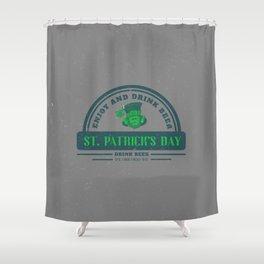Retro Vintage Happy St Patricks Day Green Distressed Shower Curtain