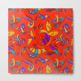Pattern with Firebirds (on red background) Metal Print