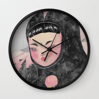 loll3 Wall Clocks featuring CuteZilla by lOll3