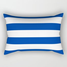 Dark Princess Blue and White Wide Horizontal Cabana Tent Stripe Rectangular Pillow