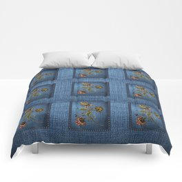 Denim Design With Jacobean Floral Comforters