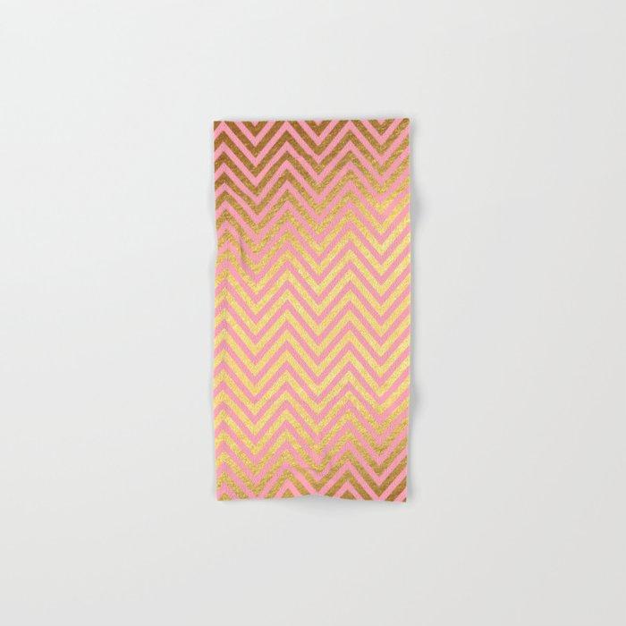 Chevron Herringbone pattern rosegold- gold metal glitter on pink watercolor Hand & Bath Towel