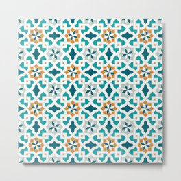 Geometric Pattern, oriental style (blue color set)  traditional morocco tile pattern Metal Print