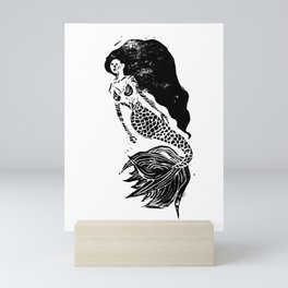 Mermaid Linocut Mini Art Print