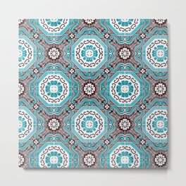 Portuguese Tiles Azulejos Aquamarine Black White Pattern Metal Print
