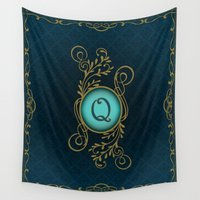 monogram Wall Tapestries featuring Monogram Q by Britta Glodde
