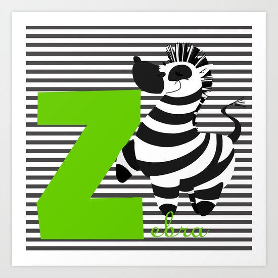 z for zebra Art Print