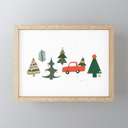 Christmas Tree / Truck / Vintage / Retro / Fir / Spruce / Winter Wonderland / Pine Tree Framed Mini Art Print